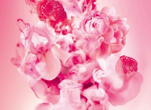 picture of rose petals, raspberries and perfume myst