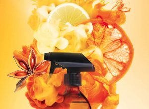 picture of a spray bottles surrounded by perfume myst, citrus and star anise