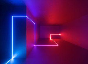 Neon line in a dark room