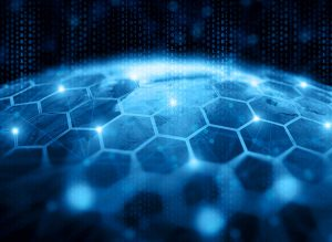 Picture of hexagons and binary code atop a blue planet